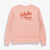 TSPTR Aloha Hotel Faded Pink sweater. Aloha Hotel Palm Springs, Calif is written on the front of the sweater.