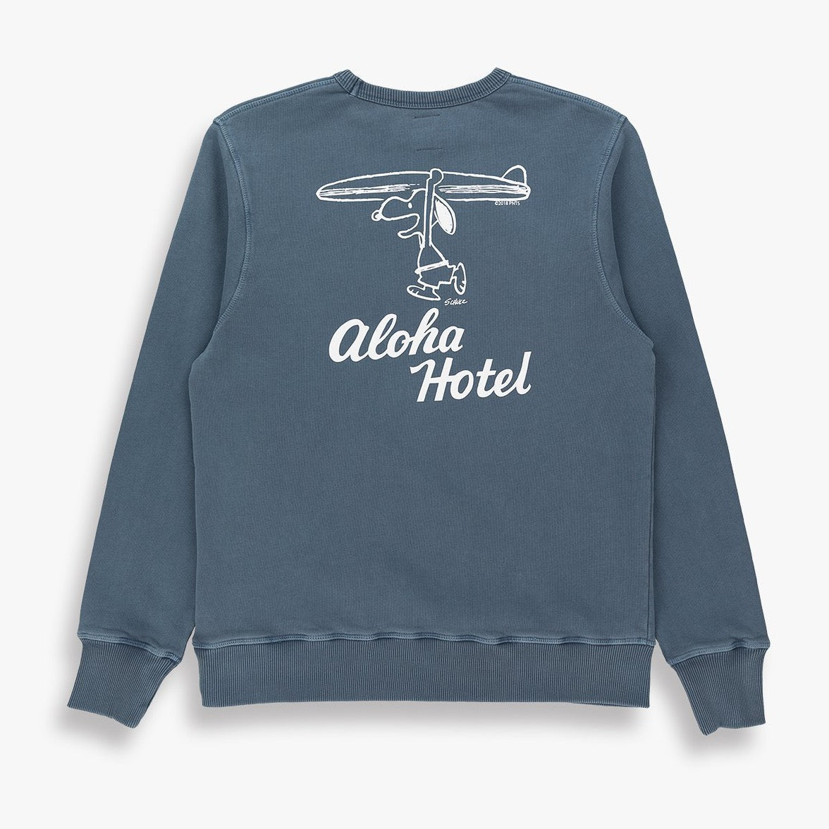 Gray TSPTR Aloha Snoopy Sweatshirt. Design of Snoopy holding a surfboard with the text aloha hotel underneath him.
