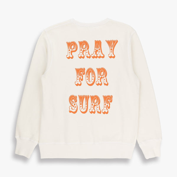 TSPTR PRAY FOR SURF Sweatshirt. A white sweater with the words Pray For Surf from top to bottom.