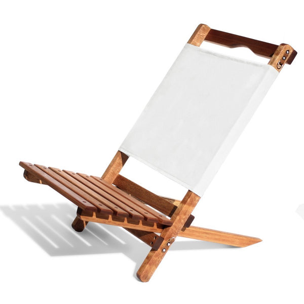 Teakwood frame (includes weather resistant coating).   Natural cotton shoulder strap.  Stainless steel and leather trims. Business and pleasure 2-piece chair.
