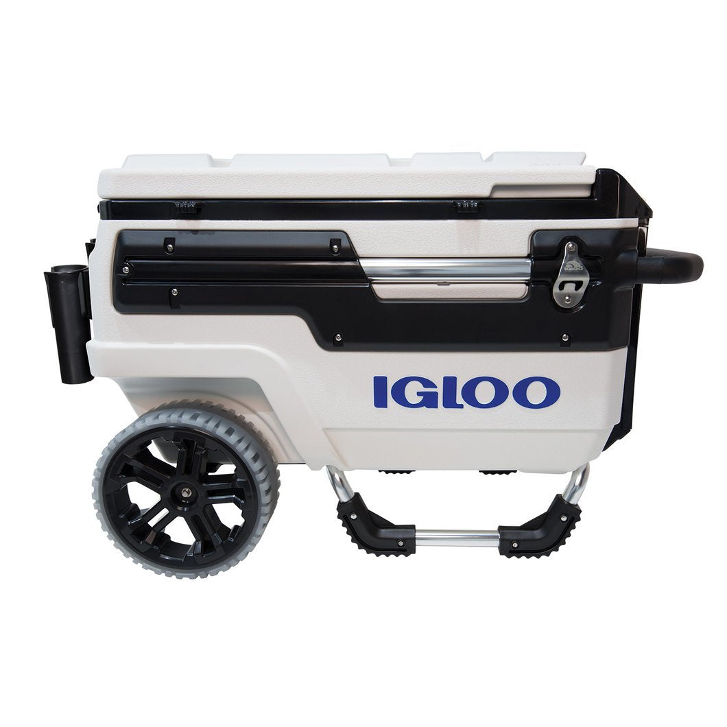 Igloo Trailmate Marine Cooler 70qt in white and black. Has two wheels and a handle at one end to lift and pull.