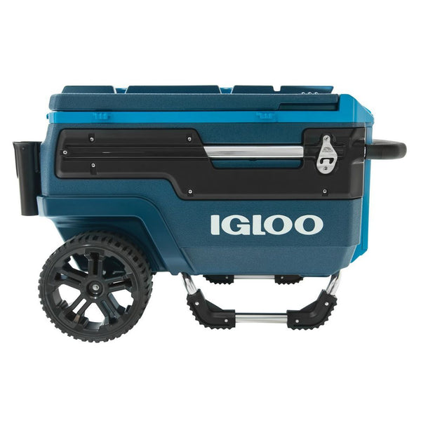Igloo Trailmate Journey cooler 70qt. two wheels and a handle to lift and roll.