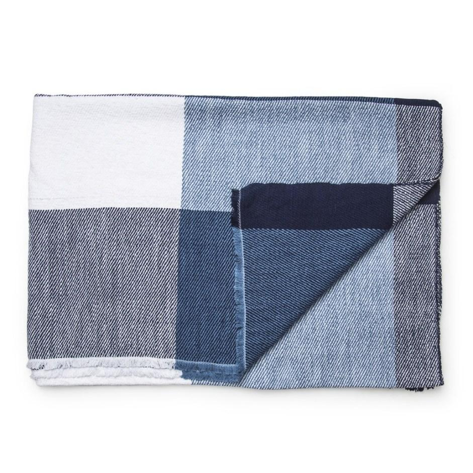 Blue, white and gray checkered Daylesford harlech throw. 100% Linen. Made in India.