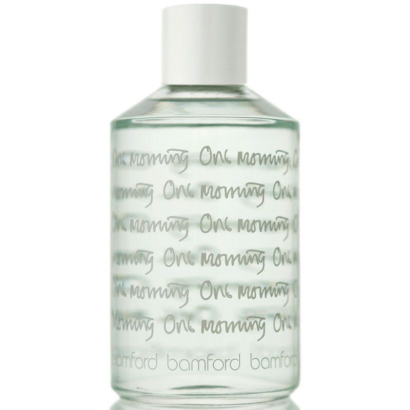 Bamford One Morning in a clear bottle with a white lid and white text wrapping around it. A light water fragranced with Violet leaf, Vanilla and Iris especially blended to scent the entire body. This delicate body splash is a fusion of floral top notes of Violet blended with Patchouli, Jasmine and Iris, warmed by Musk, Amber and a touch of Vanilla. Try our mini splashes to keep your favourite fragrance close at hand.