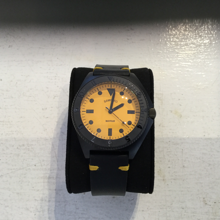 Bamford Mayfair Matte Black/ JCB Yellow - Leather