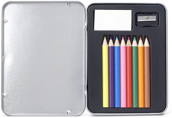 Kikkerland Mini Doodle Kit. A tin container with 8 colored pencils, a sharpener, and an eraser.
