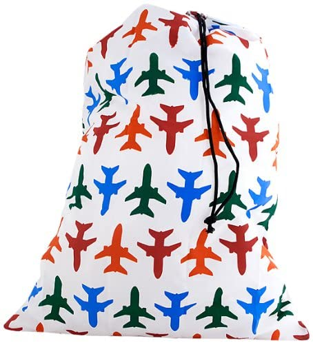 Kikkerland Airplane Laundry Bag. A white drawstring bag with red, orange, green, and blue airplanes on it.
