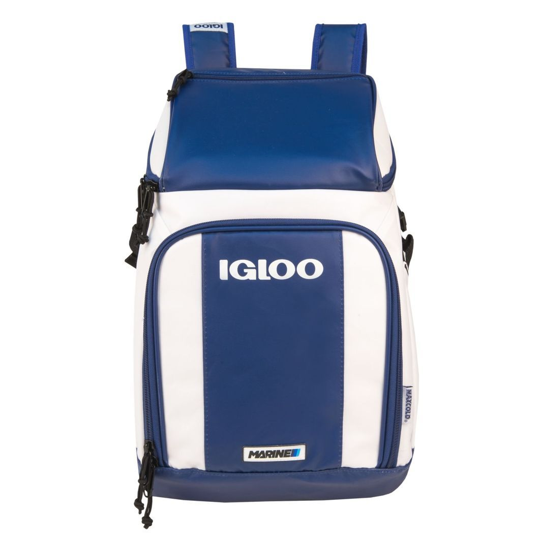 IGLOO 32-Can Ultra Marine Backpack Cooler The Marine Ultra Cooler Backpack combines versatility and style for anyone on the go. With dry storage, interior and exterior pockets, and MaxCold Insulation, this bag can truly take you as far as you can go.