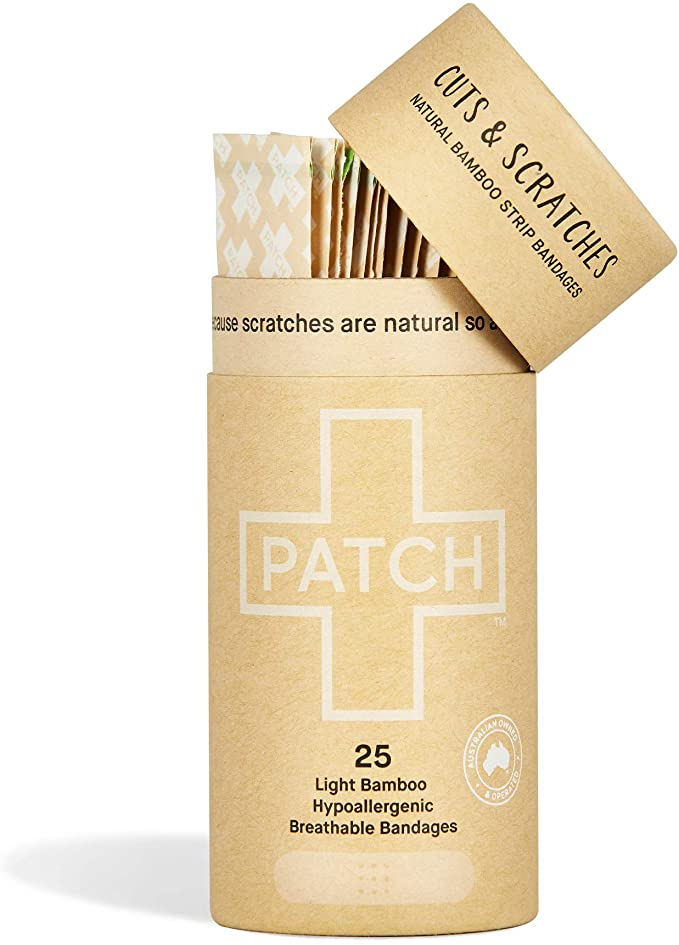Organic bamboo bandage bundle. Bundle includes 4 PATCH tubes,    Crafted with 100% organic bamboo fibre with the added natural goodness of  Natural Adhesive Strips. 25 Tube Activated Charcoal Strips Aloe Vera Strips Coconut Oil Kids Strips