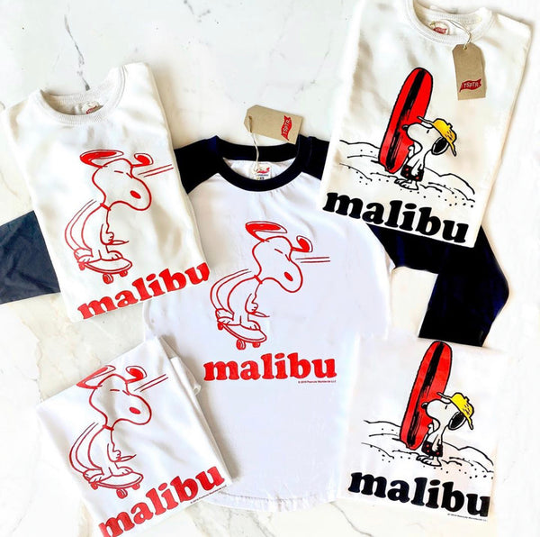 TSPTR Malibu Skate T-Shirt. White shirt with a red design of Snoopy riding a skateboard on the front.