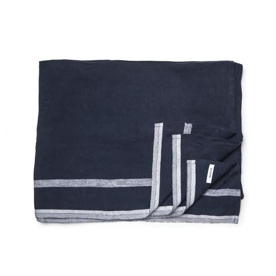 Navy blue and gray Daylesford dylan linen table cloth. 100% Linen. Made in India.