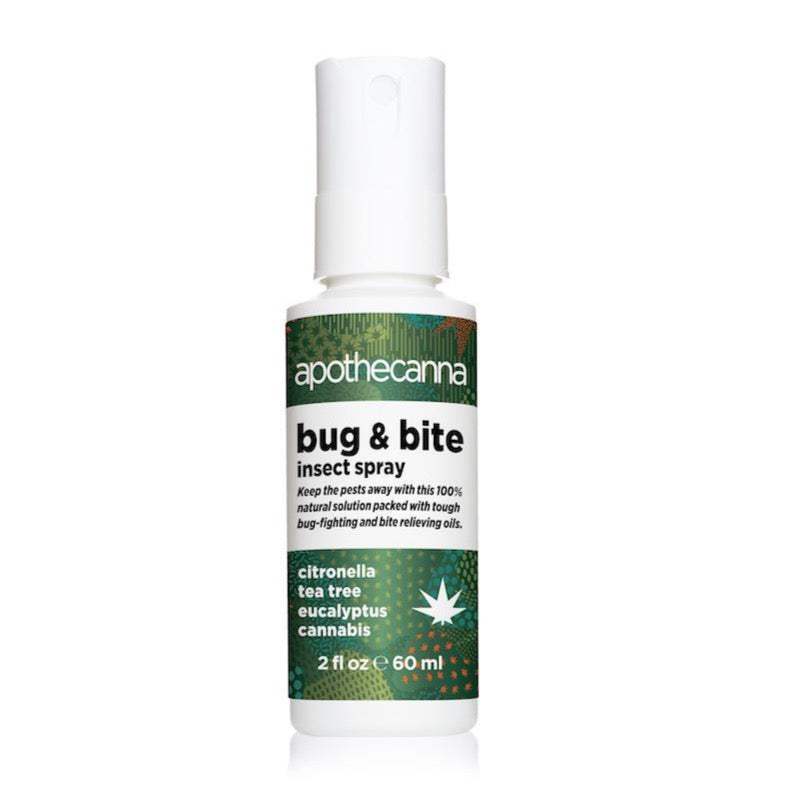 A white bottle with a push down cap that sprays out. There is green wrapping on the main bottle with the logo apothecanna. It also says bug and bite insect spray and the scent citronella tea tree eucalyptus cannabis 2floz 60ml