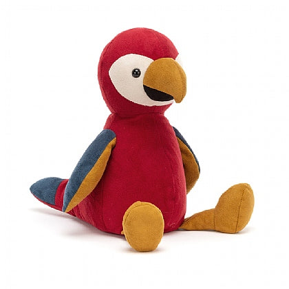 Jellycat Belby parrot. Red body, orange beak and legs. Blue wings and tail.