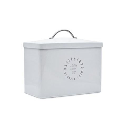A while Daylesford bread bin. On it, it says Daylesford organic farm.