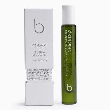 A green translucent bottle with a white twist on lid bottle and box say Bamford Balaiana essential oil blend protection. 100% Organic ingredients, certified Organic by the Soil Association. 4 x 8ml