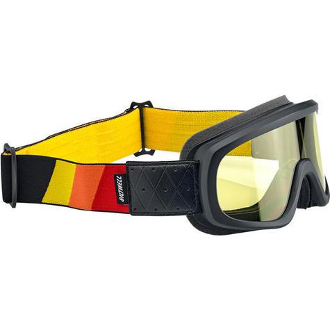 Biltwell Overland Goggle with a black, yellow, orange red pattern on the strap. The shield over the eyes is yellow.