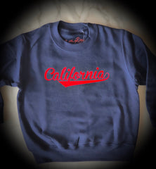 On The Rise CALIFORNIA Pullover Sweatshirt. blue sweatshirt with red text stating California in cursive text