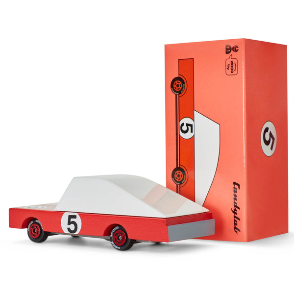 Candylab Red Racer toy car with the number 5 on it.