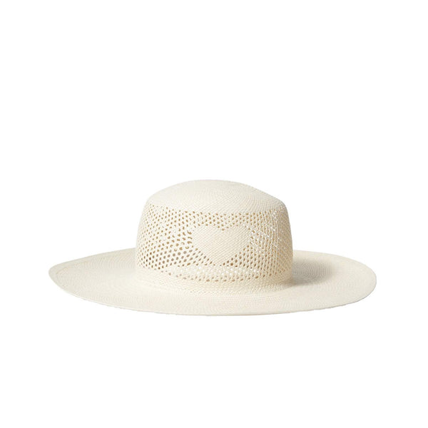 A white Bamford Corazon hat. There a woven design above the brim with a heart design.