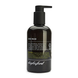 Daylesford organic hand wash. Black bottle and black push down pump lid. Nourishing botanical extracts to soften and soothe your hands 99% natural and 85% organic ingredients. geranium scent.
