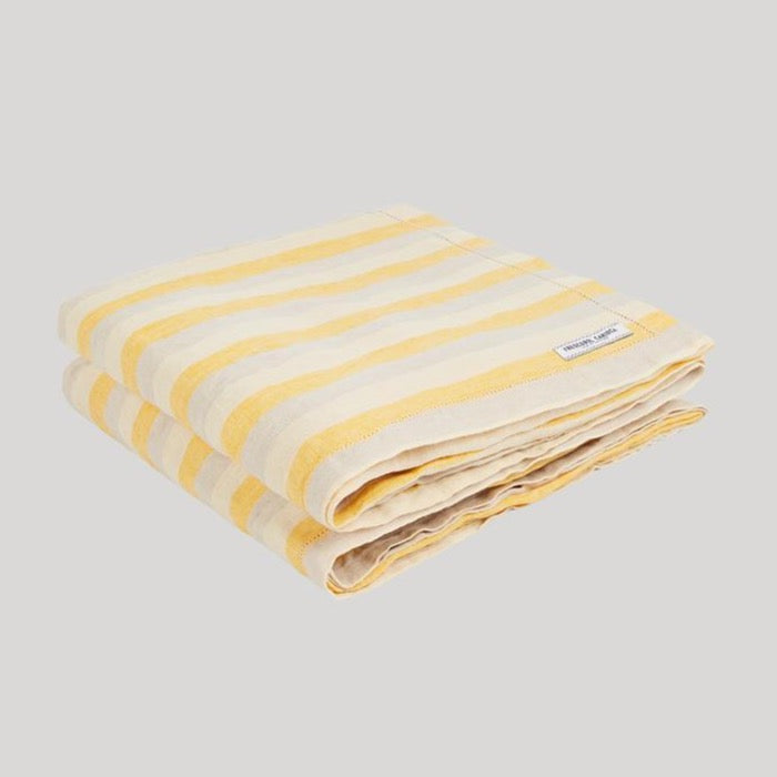 Yellow and white Frescobol Medium Stripe Linen Towel