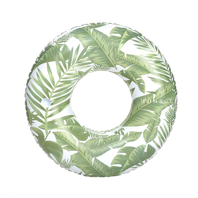 Funboy tropical leave print design tube float with a cup holder.
