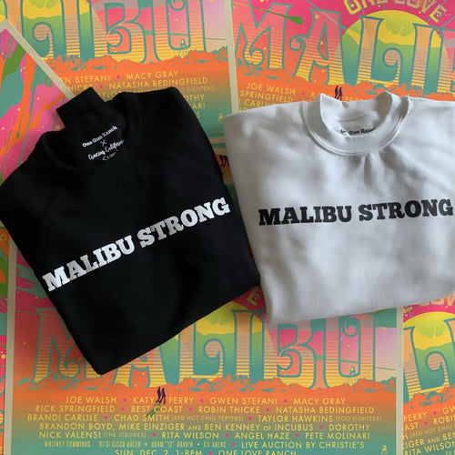 Gracias california. On the right is a black sweatshirt with white text. The right is a white sweatshirt with black text. The text reads Malibu Strong.