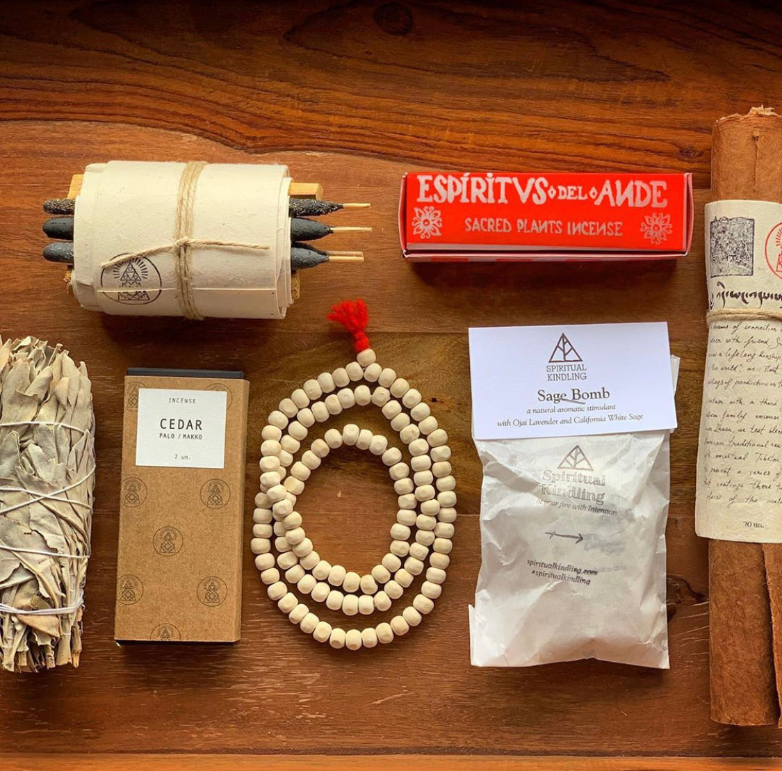 Mind, Body, and soul bundle. Wild White Sage, make, Simti, bath and meditation bundle, Espiritus Del Ande - Palo Santo Blends, sage bomb, Bamford Mala Sandalwood Prayer Beads