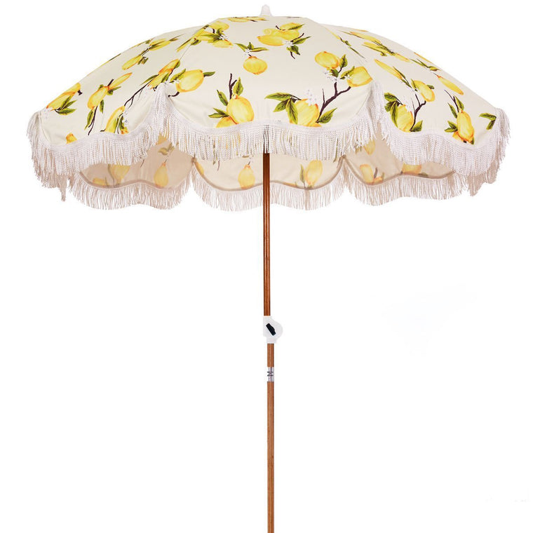 Business & Pleasure Vintage Lemons Beach Umbrella