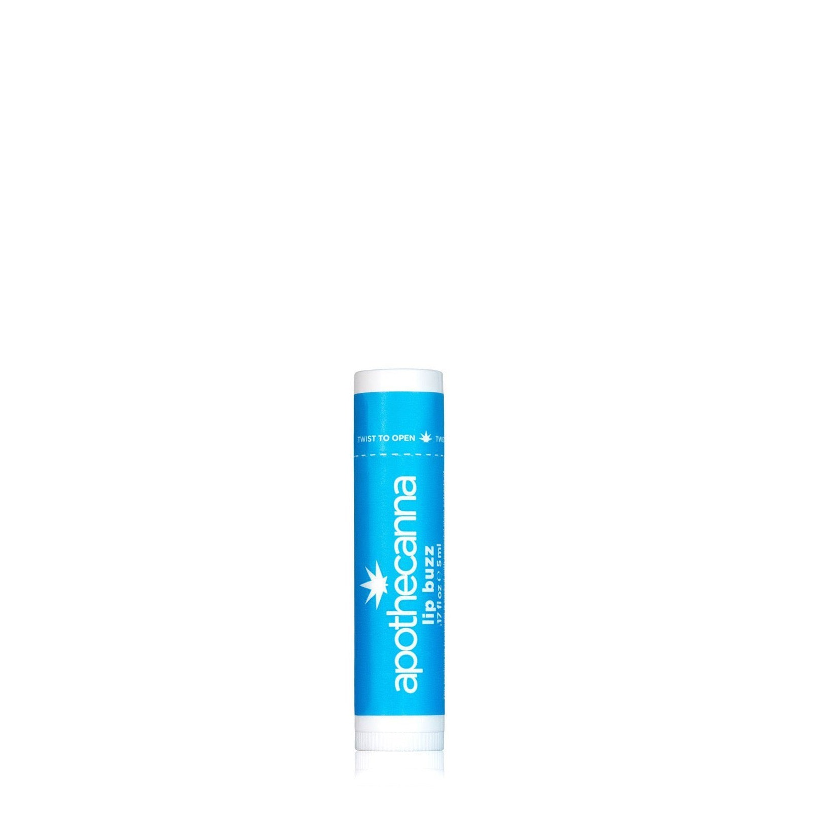 A light blue wrapper around a white canister. The logo apothecanna is written sideways and below that it says lip buzz.