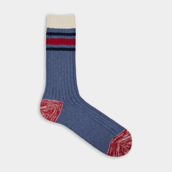 Blue with black and red stripes Thunder Love Nautical Turn Socks. Made with Egyptian cotton yarns,  -Combed cotton 96% -Polyamide 3% -Elastane 1%