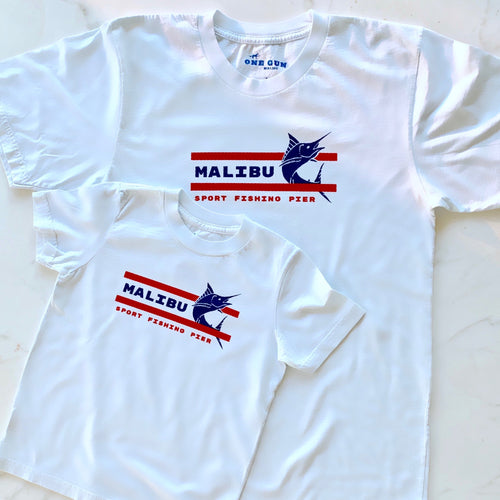 One Gun Ranch Malibu Sport Fishing Kids T-shirt. White shirt with a swordfish design on it.