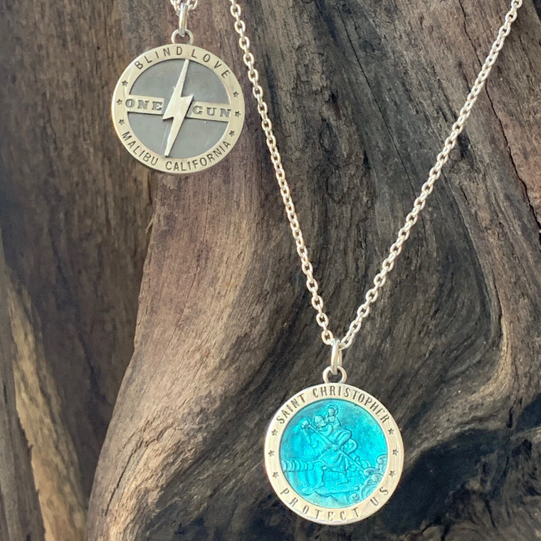 St Christopher, One Gun Blind love Necklace