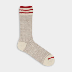 Brown with red stripes. Thunder Love Nautical Turn Socks. Made with Egyptian cotton yarns,  -Combed cotton 96% -Polyamide 3% -Elastane 1%