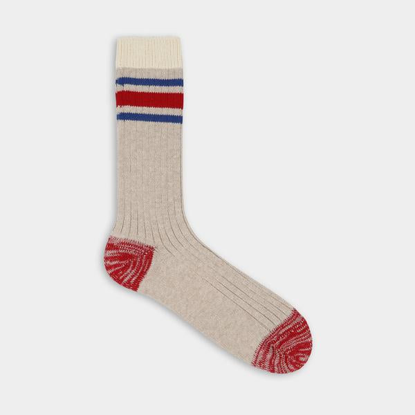 Tan with blue and red stripes. Thunder Love Nautical Turn Socks. Made with Egyptian cotton yarns,  -Combed cotton 96% -Polyamide 3% -Elastane 1%