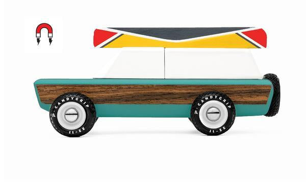 Candylab pioneer Aspen truck with a magnetic canoe on top. Solid Beech Wood, water-based paint and clear urethane coat.  ABS plastic rims, with rubber tires.