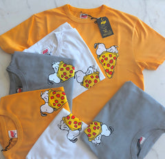 TSPTR Snoopy Pizza T-Shirt. Orange, gray and white shirts with a design of snoopy laying on top of a slice of pizza
