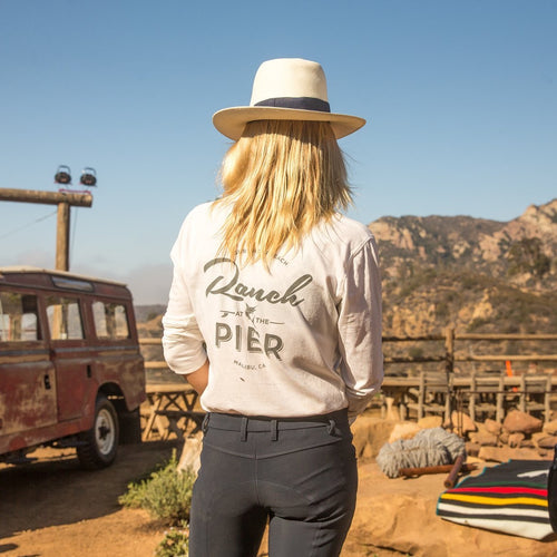 Ranch at the Pier Long-sleeve Henley in white with black text