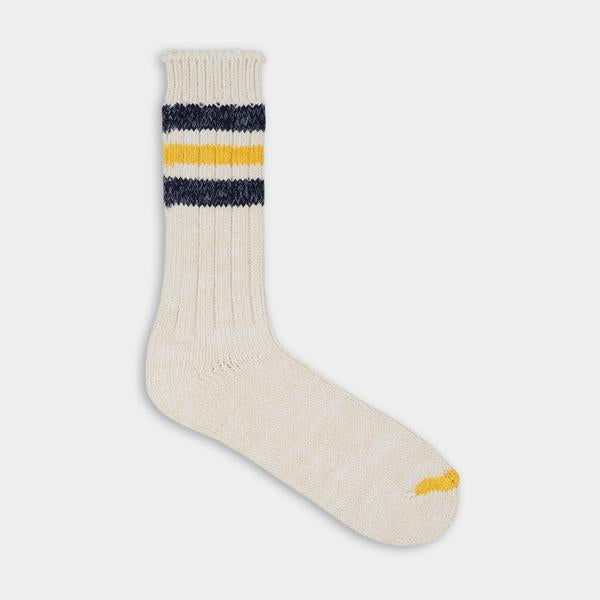 White with black and yellow stripes. Thunder Love Outsiders Collection Socks. - Recycled Cotton 90% - Polyamide 8% - Elastane 2%