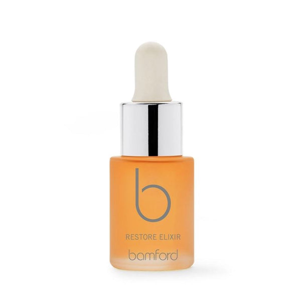 Restore  A powerful treatment elixir. Highly concentrated organic rosehip and cacay nut oils, containing retinol and vitamin e, help reduce the appearance of fine lines and wrinkles. These precious drops can be used alone or mixed with your favourite product to boost performance.  SIZE - 15ml