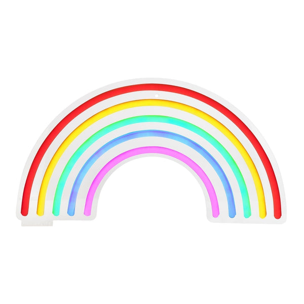 SunnyLife Wall Neon Light. Rainbow Neon LED Wall Light Small. Includes 4.5V, 6W, 50-60Hz adaptor. No batteries required. Mount on the wall or display on shelf. Made from acrylic and LED lights. Suitable for ages 12+. Measurement : 22 x 2 x 40 cm. Material/s: Acrylic, LED, Silicone.
