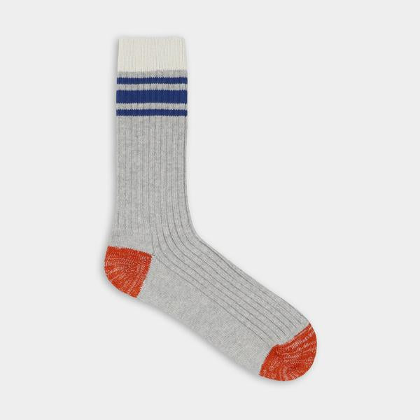 Gray with blue stripes. Thunder Love Nautical Turn Socks. Made with Egyptian cotton yarns,  -Combed cotton 96% -Polyamide 3% -Elastane 1%