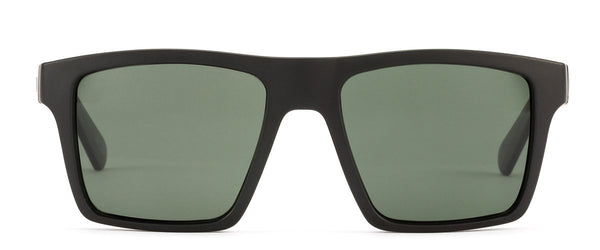 OTIS Eyewear, SOLID STATE. black square frames with gray lenses.