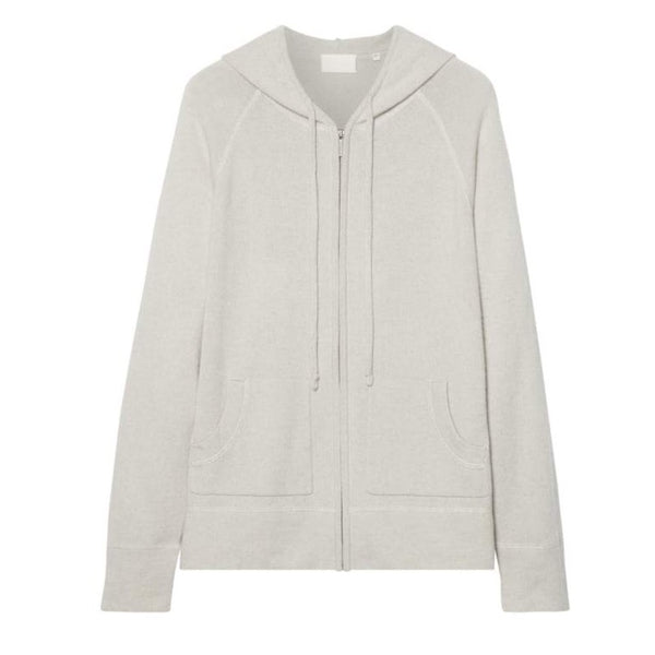 A white zip-up hoodie with pockets on both sides and two drawstrings. 100% cotton.