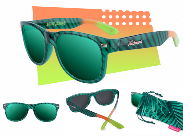 Limited Edition, Neon Jungle Sunglasses by Knockaround. The frame is green with black stripes. The lense are green.