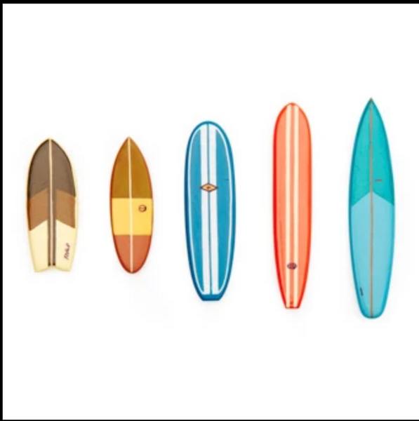 Kikkerland Surf's Up Magnets. Five different sized and styled colorful surfboards.