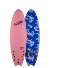 "Catch surf odysea skipper pro sierra 60"" surfboard. The top of the board is pink with the logo Odysea Surfboards on it. The bottom of the board is blue with white print flower designs."