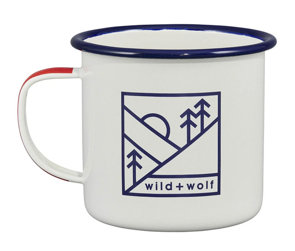Wild & Wolf Enamel Mug with a design of a sun over trees.