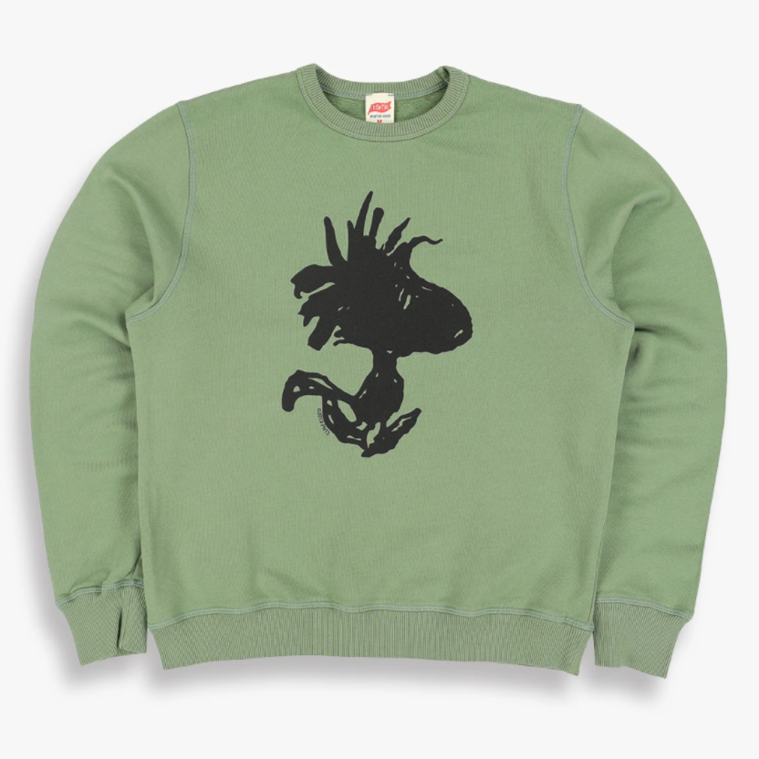 Green TSPTR Any Road Pullover. In the center there is a design of woodstock from Snoopy