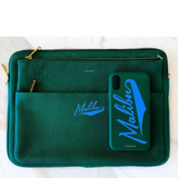 Green Chaos X One Gun Leather Laptop Case with gold hardware